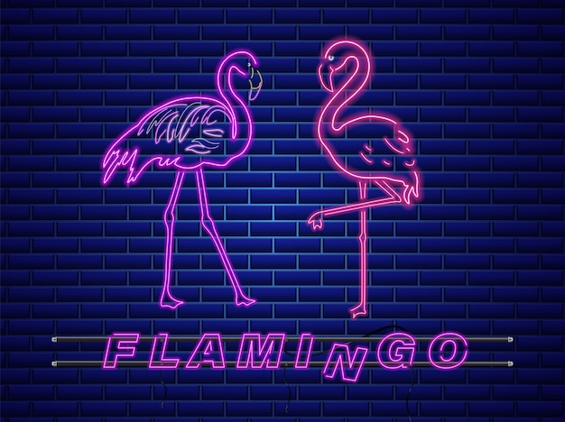 Neon flamingos banner