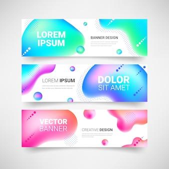 ネオン流体図形水平バナーセット。抽象的な現代的な液体の色の背景。カラフルなグラデーションの幾何学的なデザイン要素のコレクション。 web、カバー、チラシ、ヘッダー、ページ、広告。図