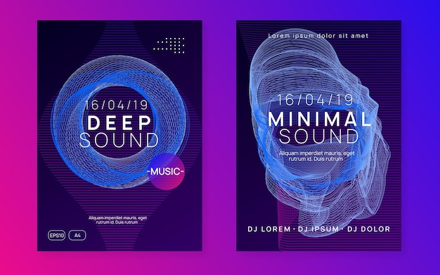 Neon flyer. abstract show magazine set. dynamic gradient shape and line. neon flyer trance event. techno dj party. electro dance music. electronic sound. club fest poster.