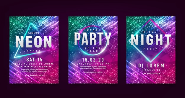 Neon flyer for colorful party with background lights.