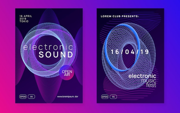 Neon flyer. digital concert cover set. dynamic fluid shape and line. neon flyer trance event. techno dj party. electro dance music. electronic sound. club fest poster.