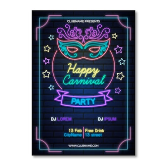 Neon flyer template for carnival party