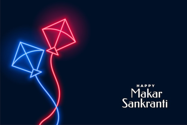 Neon flying kites for makar sankranti festival