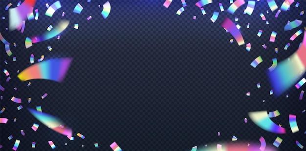 네온 호일. 반짝이는 금속 호일 효과, 분홍색 및 파란색 네온 불빛이있는 홀로그램 무지개 빛깔의 색종이