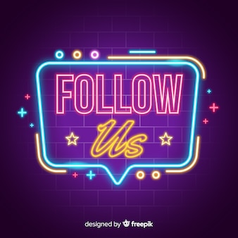 Neon follow us background
