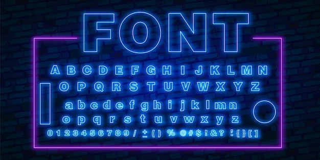 Neon font, 80s text letter glow light set. ultra violet character abc. uv luminous effect high detailed alphabet. retro techno acid style
