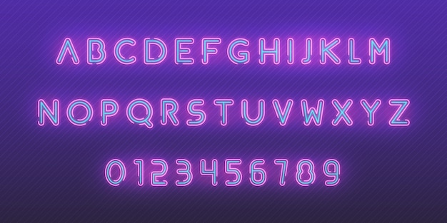 Neon font alphabet. glowing neon colored 3d modern alphabet and numbers characters typeface