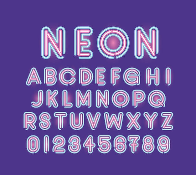 Neon font alphabet and numbers of pink and blue color on purple illustration design