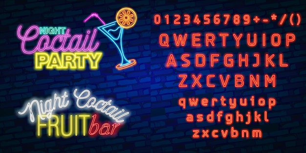 Neon font alphabet typography with party night bar and cocktail party neon sign, bright signboard