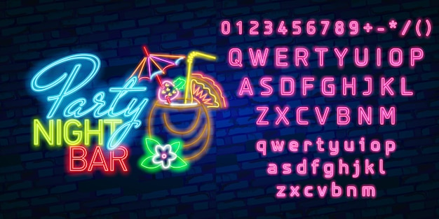 Neon font alphabet typography with party night bar neon sign, bright signboard