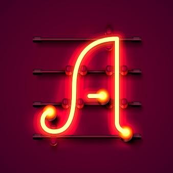 Neon font letter a, art design signboard. vector illustration