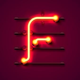 ネオンフォント文字f、アートデザイン看板。ベクトルイラスト