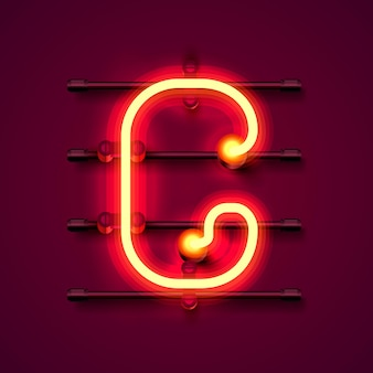 ネオンフォント文字g、アートデザイン看板。ベクトルイラスト