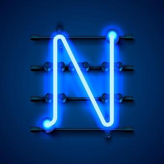 Neon font letter n, art design signboard. vector illustration
