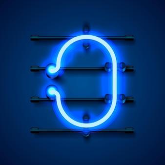 Neon font letter o, art design signboard. vector illustration