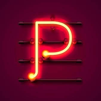 Neon font letter p, art design signboard. vector illustration
