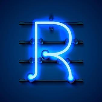 Neon font letter r, art design signboard. vector illustration