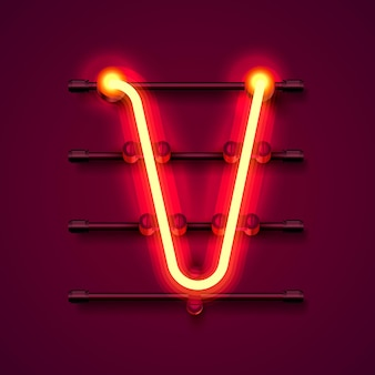 Neon font letter v, art design signboard. vector illustration