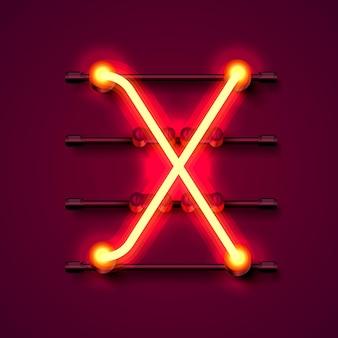 Neon font letter x, art design signboard. vector illustration