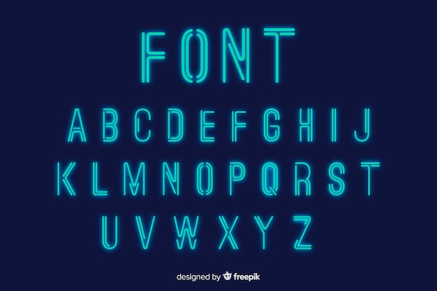 Neon font template flat design