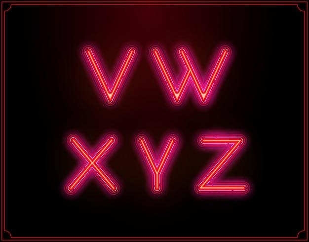 Neon font type alphabet. glowing in vector.
