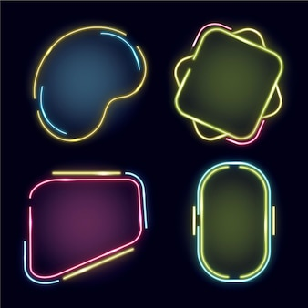 Neon frame abstract design collection