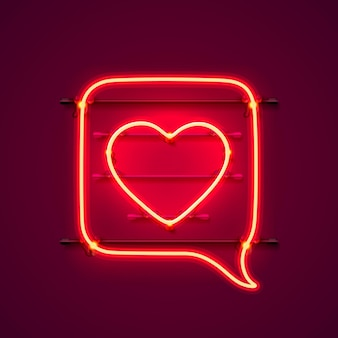 Neon frame chat sign in the shape of a heart. template design element. vector illustration