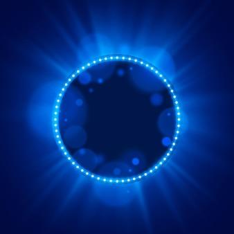 Neon frame light color blue on a bright background. vector illustration
