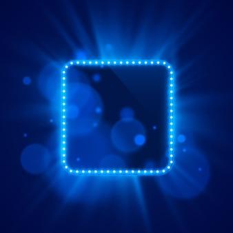 明るい背景にネオンフレームライトカラーブルー。ベクトルイラスト