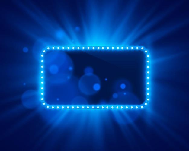 네온 프레임 밝은 색상은 밝은 배경에 파란색입니다. 벡터 일러스트 레이 션