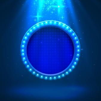 明るい背景にネオンフレームライトカラーブルー。ベクトルイラスト Premiumベクター