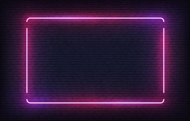 Neon frame. purple light banner design template. glowing rectangle signboard.