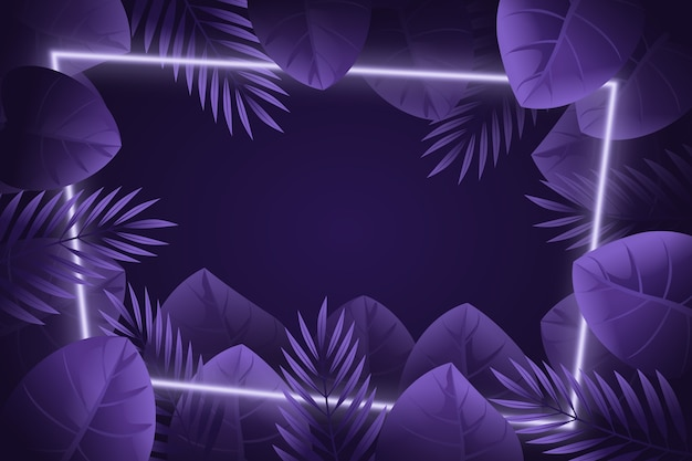 Neon frame realistic leaves