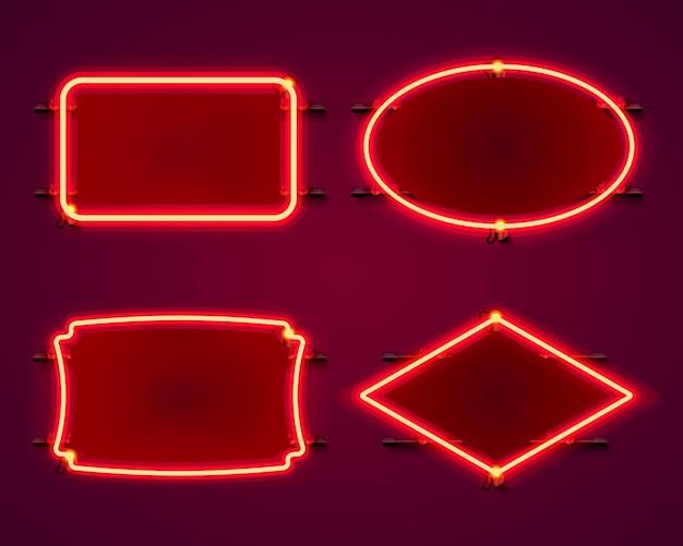 Коллекция неоновых рамок. элемент дизайна шаблона.