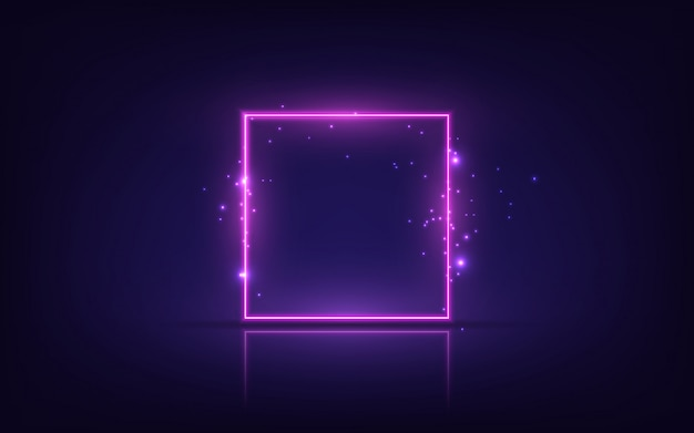 Neon frame. shining square banner. isolated on transparent background.