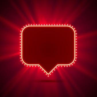 Неоновая рамка в виде чата. красный. элемент дизайна шаблона. векторная иллюстрация