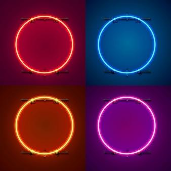 Неоновая рамка в форме круга. установите цвет. элемент дизайна шаблона. векторная иллюстрация