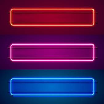 Неоновая рамка в форме квадрата. установите цвет. элемент дизайна шаблона. векторная иллюстрация
