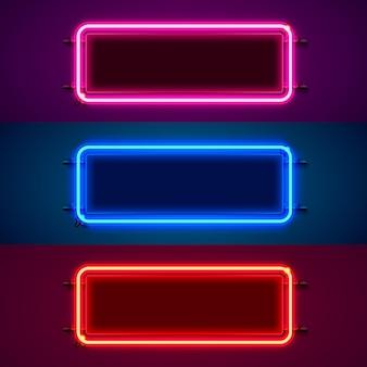 Неоновая рамка в форме квадрата. установите цвет. элемент дизайна шаблона.