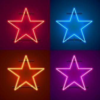 Неоновая рамка в виде звезды. установите цвет. элемент дизайна шаблона. векторная иллюстрация