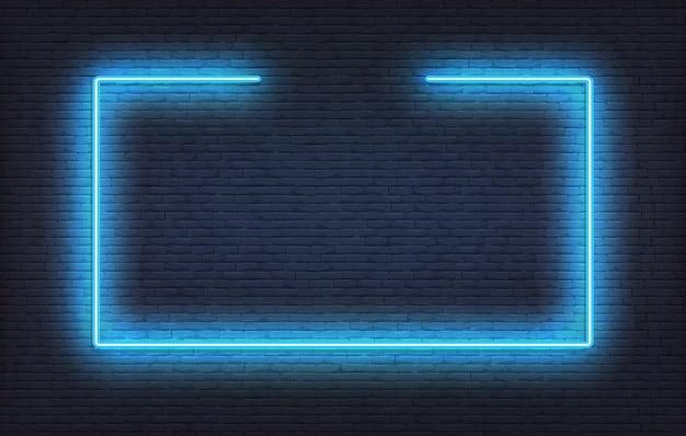 ネオンフレームサイン。リアルな青い看板の光るデザインテンプレート。