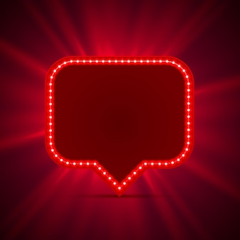 Neon frame sign in the shape of a chat. red. template design element. vector illustration