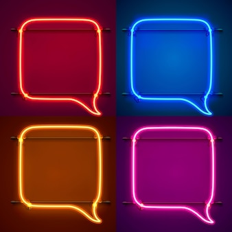 Neon frame sign in the shape of a chat. set color. template design element. vector illustration