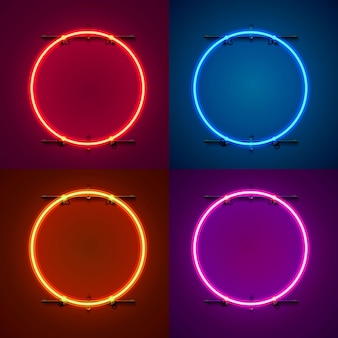 Neon frame sign in the shape of a circle. set color. template design element. vector illustration