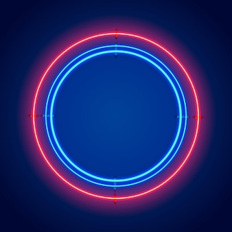 Neon frame sign in the shape of a circle. template design element. vector illustration