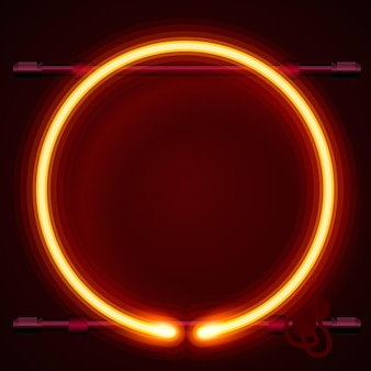 Neon frame sign in the shape of a circle. template design element, vector illustration