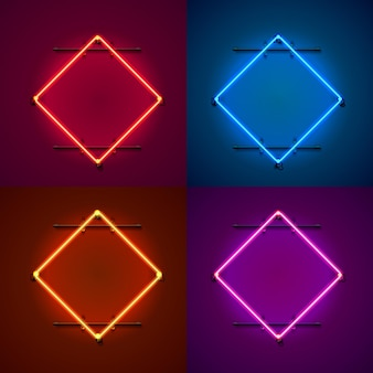 Neon frame sign in the shape of a square. set color. template design element. vector illustration
