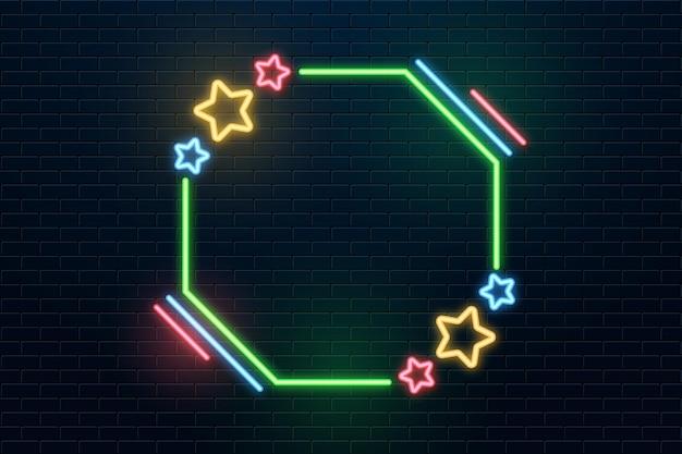 화려한 작은 별들이 있는 네온 프레임