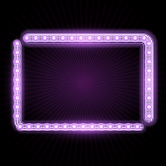 Neon frame with glowing lights and starburst