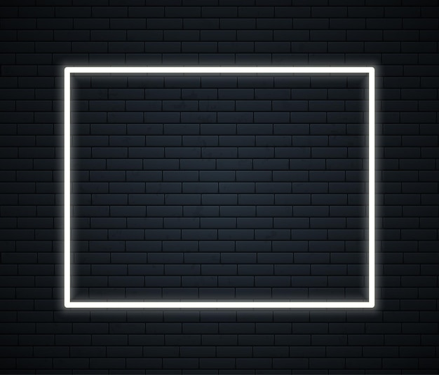 Неоновая рамка с пространством для текста на кирпичной стене